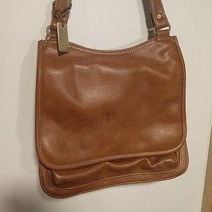 Liz Claiborne leather, camel cross body bag
